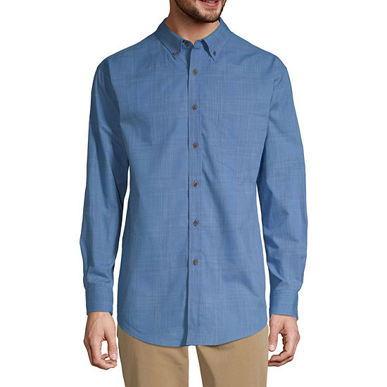 Haggar Weekender Mens Long Sleeve Plaid Button-Front Shirt
