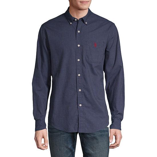 U.S. Polo Assn. Slim Mens Long Sleeve Striped Button-Front Shirt