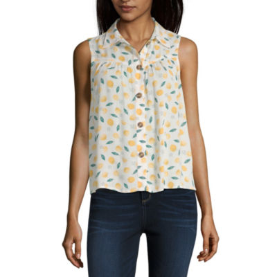 Wallflower Womens Sleeveless Button-Front Shirt-Juniors