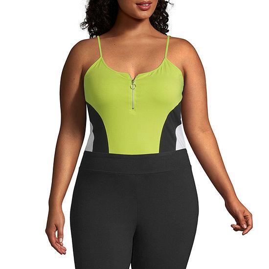 Flirtitude Womens U Neck Sleeveless Bodysuit-Juniors Plus
