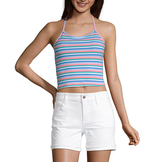 Arizona Womens Halter Neck Sleeveless Crop Top Juniors