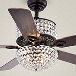 Warehouse Of Tiffany Laure Crystal 52 In. Indoor Bronze Finish Remote Controlled Indoor Ceiling Fan Cfl-8170remo/Bl