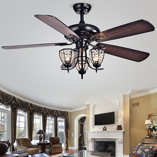 Warehouse Of Tiffany Mirabelle 52 In. Matte Black Finish Remote Controlled Indoor Ceiling Fan Cfl-8166remo/Bl