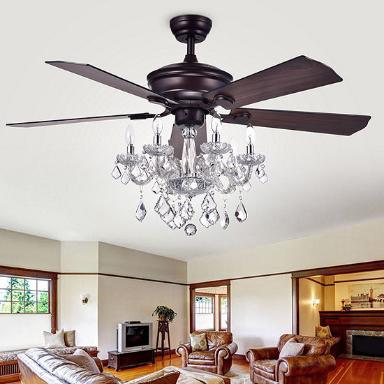 Warehouse Of Tiffany Havorand 52 In. Indoor Antique Bronze Finish Remote Controlled Indoor Ceiling Fan Cfl-8213remo/Ab