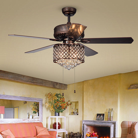 Warehouse Of Tiffany Pshita 52 In. Indoor Antique Bronze Finish Pull Chain Indoor Ceiling Fan Cfl-8316rb