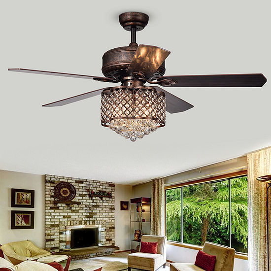 Warehouse Of Tiffany Pshita 52 In. Indoor Antique Bronze Finish Remote Controlled Indoor Ceiling Fan Cfl-8316remo Rb