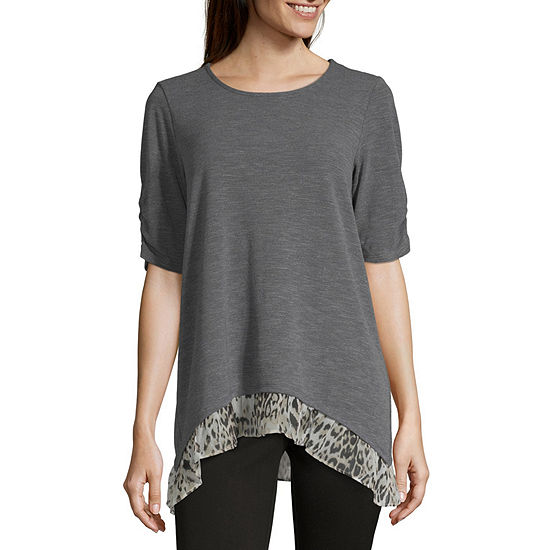 Alyx Womens Round Neck Elbow Sleeve Knit Blouse