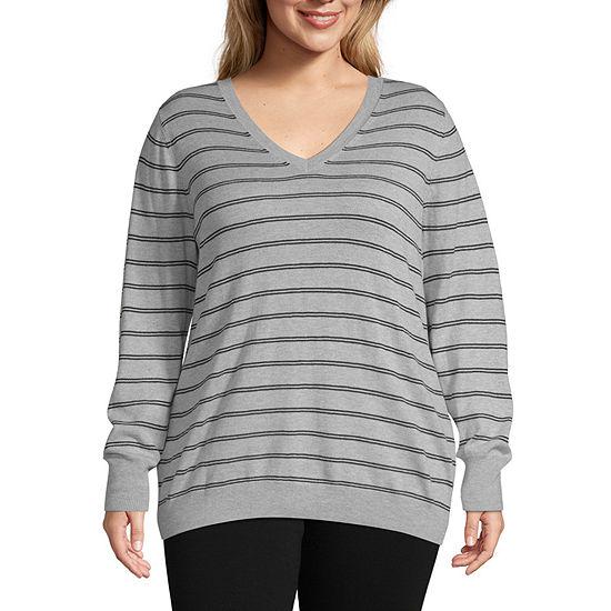 Worthington Womens Long Sleeve V Neck Sweater - Plus