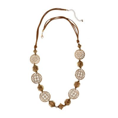 EL by Erica Lyons Orange Fuchsia Womens Round Beaded Necklace