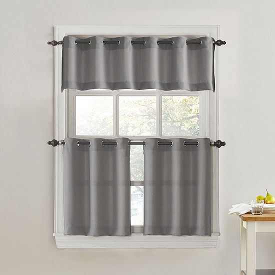 No 918 Valerie 3-pc. Grommet-Top Kitchen Curtain Set