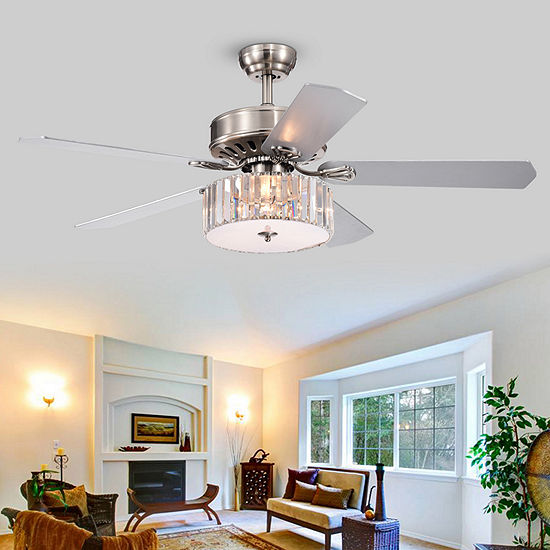 Warehouse Of Tiffany Kimalex 52 In. Indoor Satin Nickel Finish Remote Controlled Indoor Ceiling Fan Cfl-8174remo/Sn