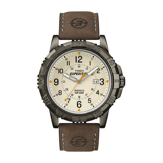 Timex® Rugged Mens Leather Strap Field Watch