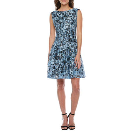 80s Dresses   Casual to Party Dresses Danny  Nicole Sleeveless Floral Lace Fit  Flare Dress 8  Blue $41.24 AT vintagedancer.com