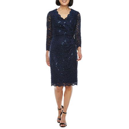 60s Dresses | 1960s Dresses Mod, Mini, Hippie Jessica Howard 34 Sleeve Sheath Dress 12  Blue $62.30 AT vintagedancer.com