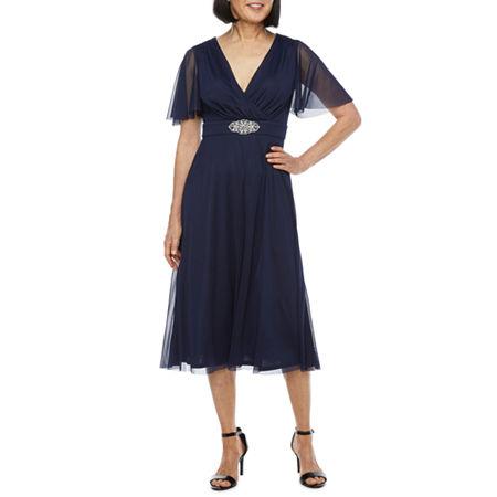 1940s Dresses | 40s Dress, Swing Dress, Tea Dresses Jessica Howard Short Sleeve Beaded Midi Fit  Flare Dress 6  Blue $70.00 AT vintagedancer.com