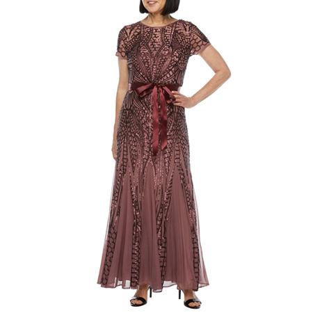 1920s Style Dresses, 20s Dresses R  M Richards Short Sleeve Sequin Evening Gown 6  Red $112.00 AT vintagedancer.com