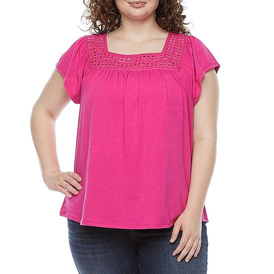 St. John's Bay Womens Plus Square Neck Short Sleeve T-Shirt