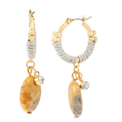 Bleu™ Bead Gold-Tone Drop Hoop Earrings