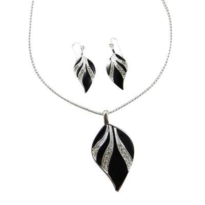 Mixit™ 2-pc. Silver-Tone Black Enamel Leaf Earrings & Necklace Set