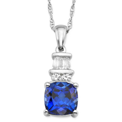 Lab Created Blue And White Sapphire Sterling Silver Pendant