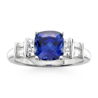 Blue & White Lab-Created Sapphire Sterling Silver 3-Stone Ring