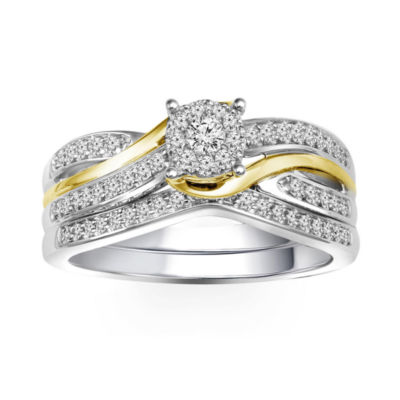 3/8 CT. T.W. Diamond 10K Two-Tone Bridal Set