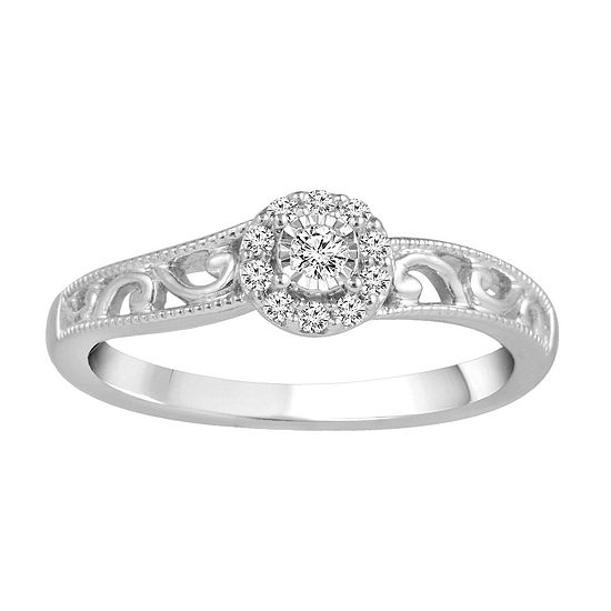 Promise My Love 1/8 CT. T.W. Genuine Diamond Sterling Silver Promise Ring