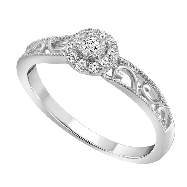 Promise My Love 1/8 CT. T.W. Diamond Sterling Silver Promise Ring