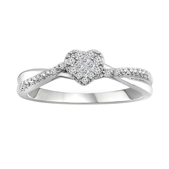 9fd72b96e7f8c Promise My Love 1/8 CT. T.W. Diamond 10K White Gold Promise Ring