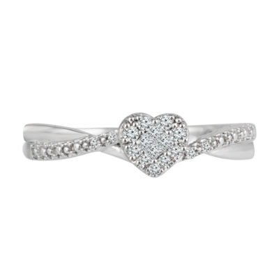 Promise My Love 1/8 CT. T.W. Diamond 10K White Gold Promise Ring