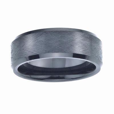Mens 8mm Black Ceramic Wedding Band