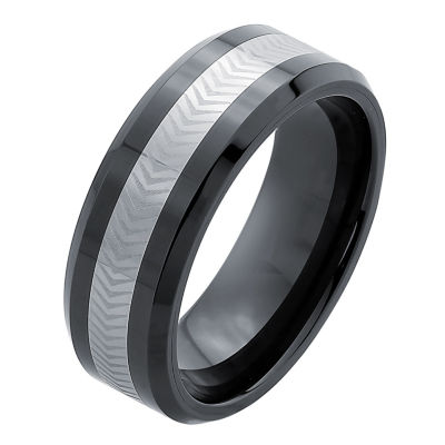 Mens 8mm Tungsten Carbide & Ceramic Wedding Band