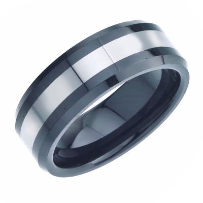 Mens 8mm Tungsten Carbide Black Ceramic Wedding Band JCPenney