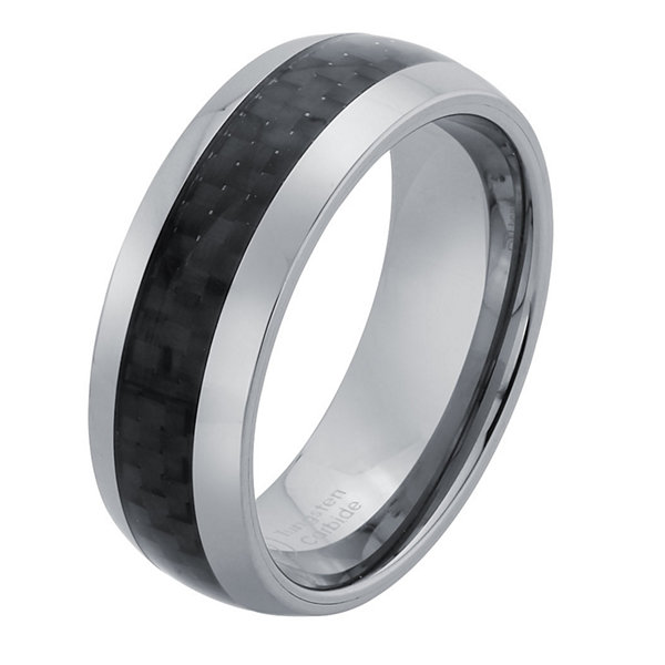 Mens 8mm Tungsten Carbide & Carbon Fiber Wedding Band