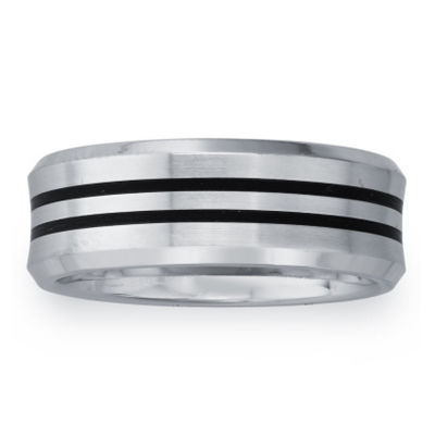 Mens 8mm Cobalt & Black Enamel Double Stripe Wedding Band
