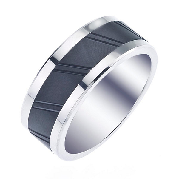 Mens 9mm Cobalt & Ceramic Wedding Band