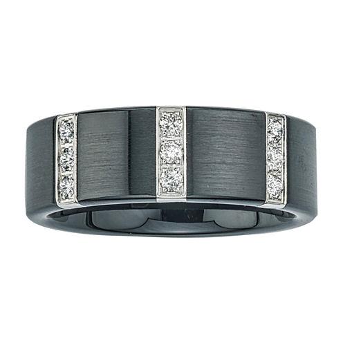 Mens 1/4 CT. T.W. Diamond Black Stainless Steel & Ceramic Wedding Band
