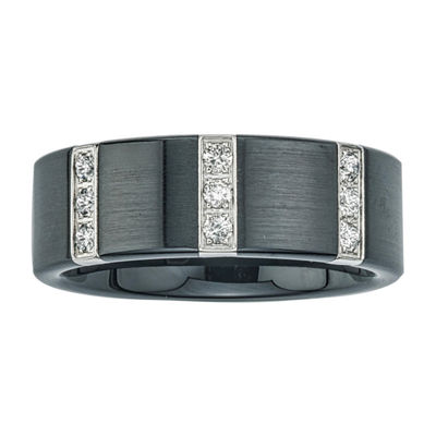 Mens 1/4 CT. T.W. Diamond Black Stainless Steel & Ceramic Wedding Band
