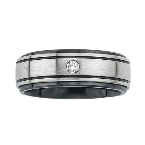 Mens Diamond Accent Stainless Steel & Ceramic Wedding Band