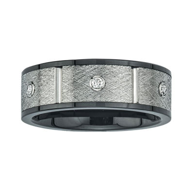 Mens 8mm 1/5 CT. T.W. Diamond Stainless Steel & Ceramic Wedding Band
