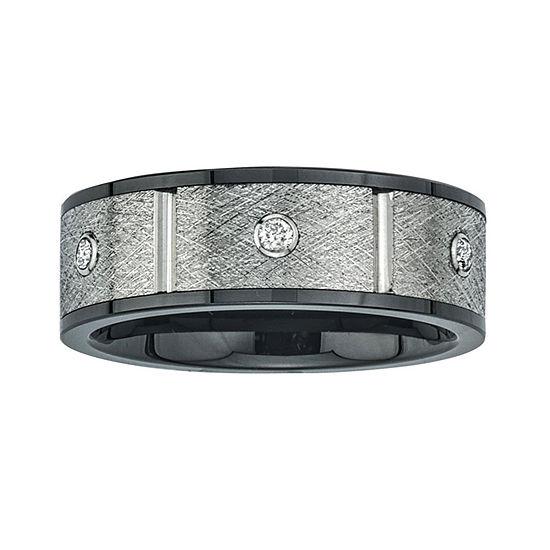 Mens 8mm 1/5 CT. T.W. Diamond Stainless Steel & Ceramic Wedding Band