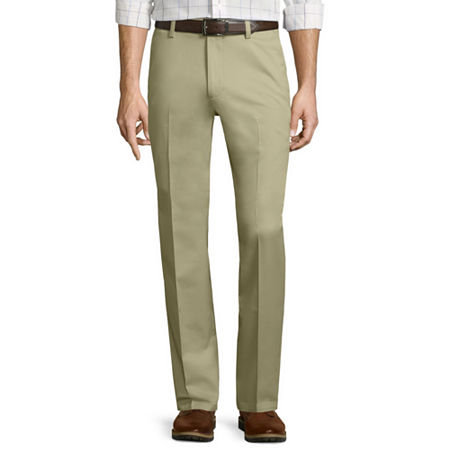 St. John's Bay Stretch Iron-Free Straight-Fit Flat-Front Pants, 42 30, Beige