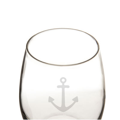 Cathy's Concepts Set of 4 Stemless Anchor Wine Glasses
