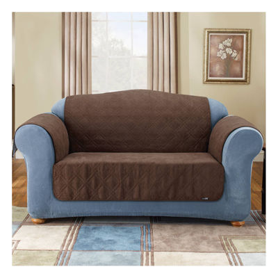SURE FIT® Quilted Suede Loveseat Pet Cover