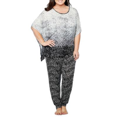 Ambrielle Poncho Top and Pant Pajama Set-Plus