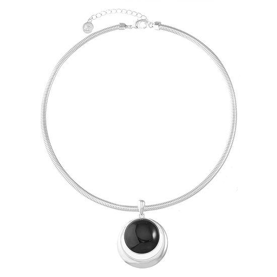 Liz Claiborne Black 17 Inch Omega Pendant Necklace