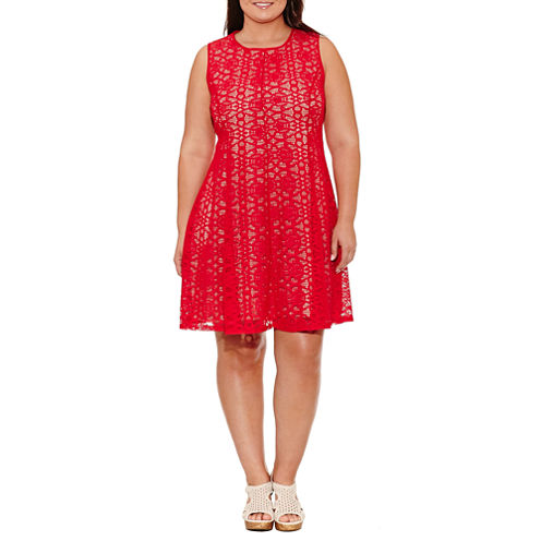 Tiana B Sleeveless Fit & Flare Dress-Plus