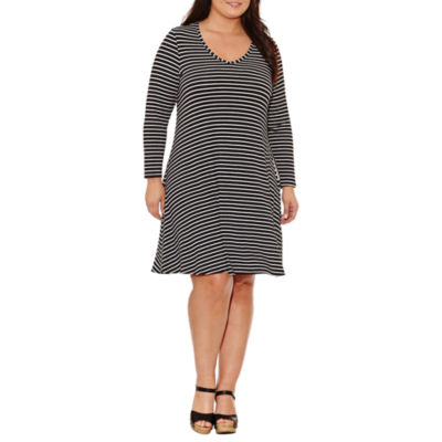 Tiana B Long Sleeve Stripe Sheath Dress-Plus