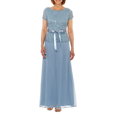 Jump Apparel Short Sleeve Belted Lace Evening Gown-Petite