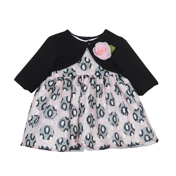 Marmellata Long Sleeve Circles A Line Dress Baby Girls